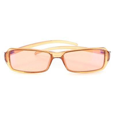 Gucci GG2487 Transparent Orange Pink Rectangular Sunglasses