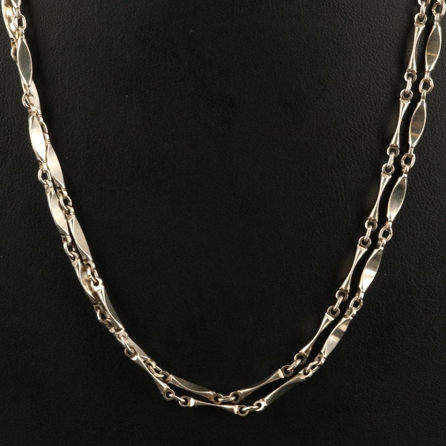 Sterling Fancy Bar Link Necklace