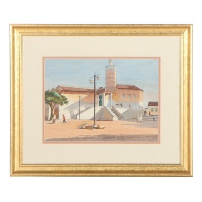 Edmond James Fitzgerald Architectural Watercolor Painting