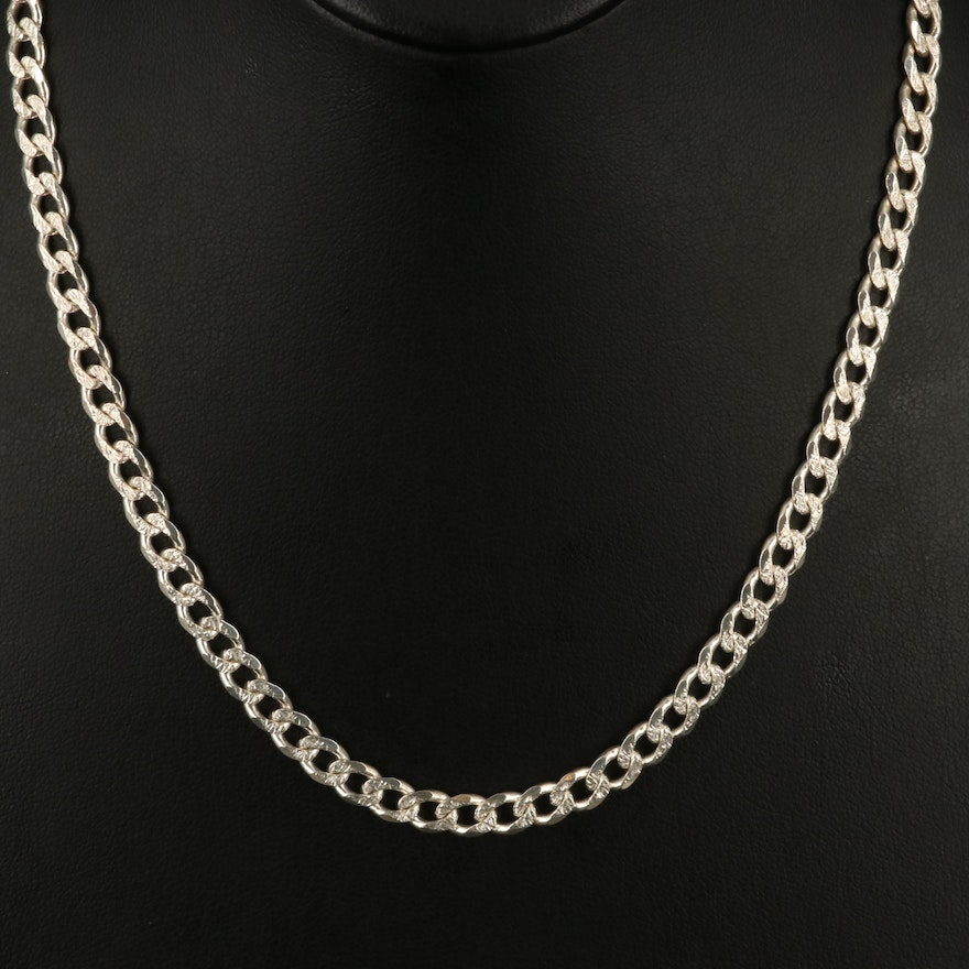 Sterling Textured Curb Chain Necklace