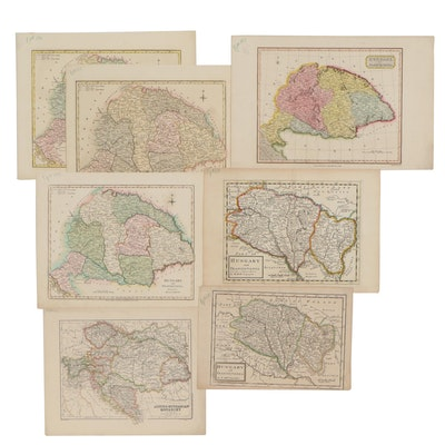 Hand-Colored Engraving Maps of Hungary and Transylvania