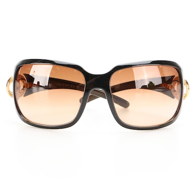 Chanel 6023 CC Logo Black Sunglasses with Gradient Lenses and Includes Case