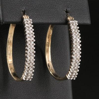 10K Diamond Oval Hoop Earrings