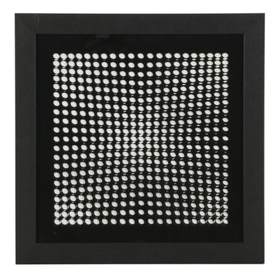 """Victor Vasarely Op Art Lithograph With Transparent Overlay From """"Vasarely II"""""""