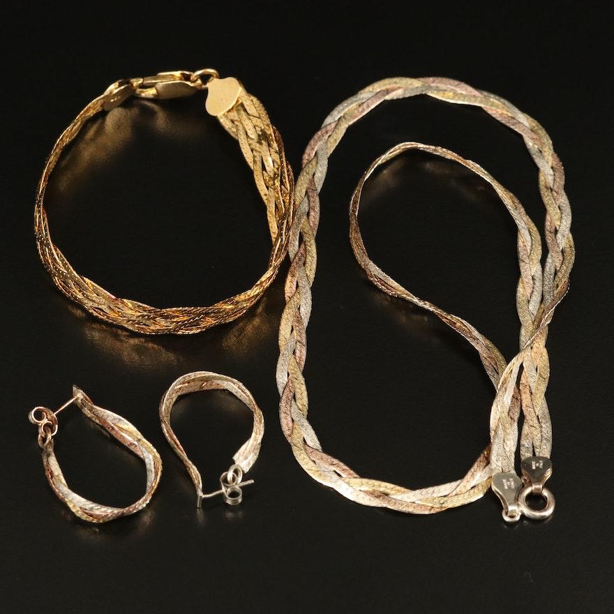 Sterling Braided Herringbone Necklace, Bracelet and Hoop Earrings
