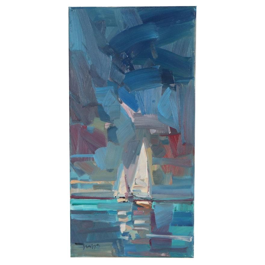 """Jose Trujillo Seascape Oil Painting """"In Deep Water"""""""