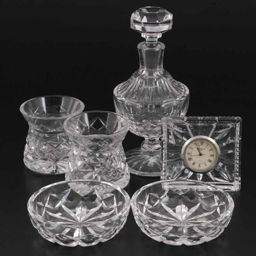 Waterford Crystal Perfume Bottle, Desk Clock and Other Accessories