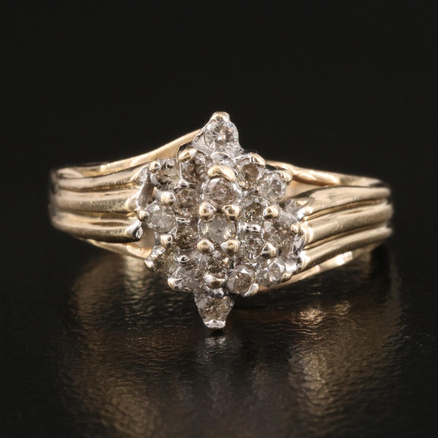 10K Diamond Cluster Ring with Fluted Shoulders
