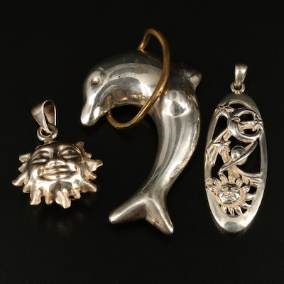 Sterling Dolphin, Sun and Moon Pendants