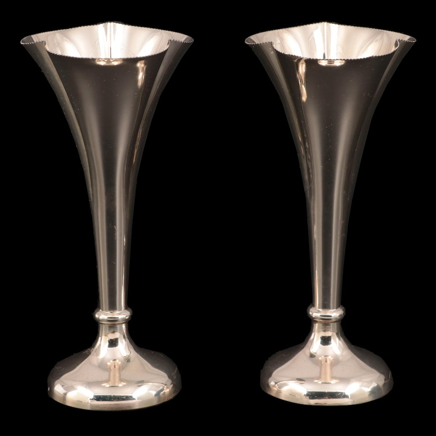Anton Henrik Zipper .800 Silver Trumpet Vases, Late 19th to Early 20th Century