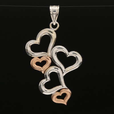 14K Multiple Hearts Pendant With Rose Gold Accents