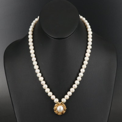 Sterling Pearl, Topaz and Citrine Pendant Necklace