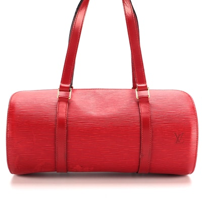 Louis Vuitton Soufflot Handbag in Castilian Red Epi and Smooth Leather