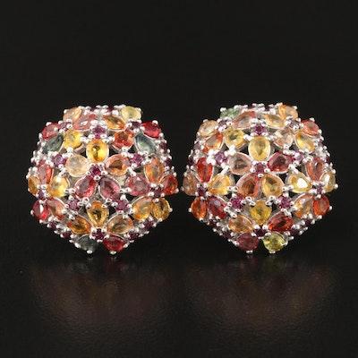 Sterling Sapphire and Rhodolite Garnet Button Earrings