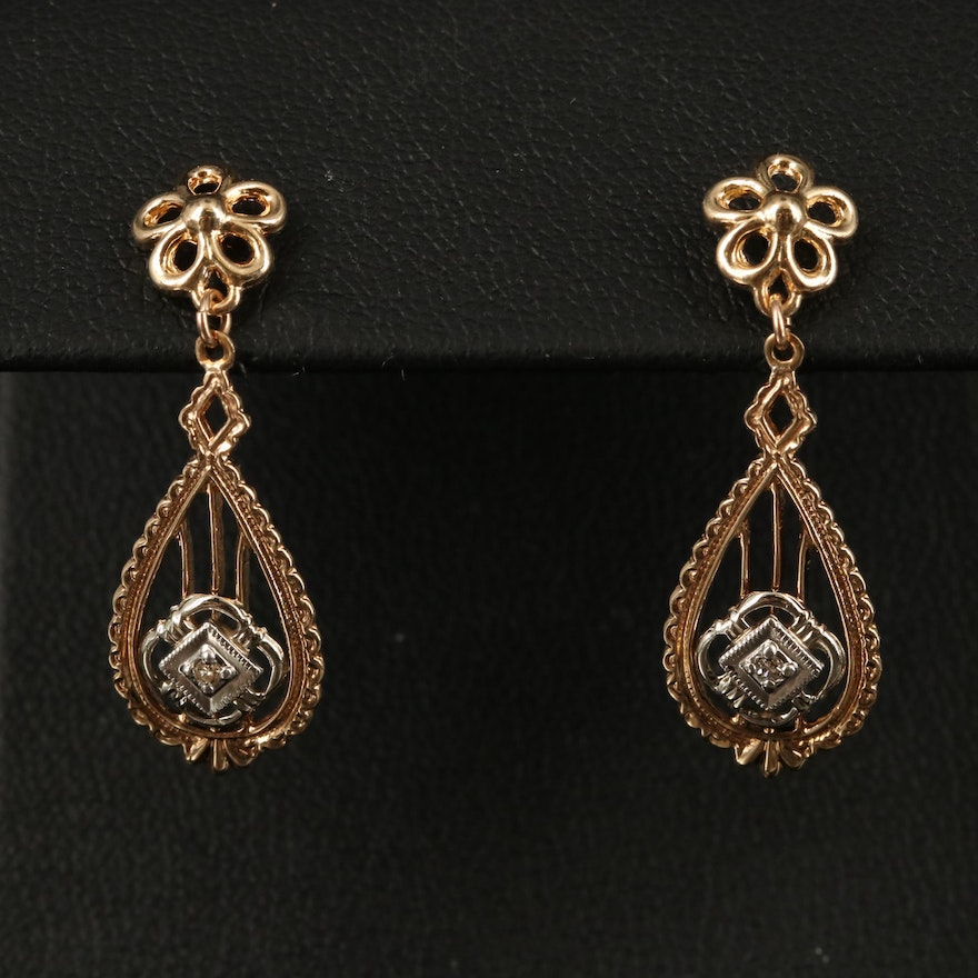 Vintage 10K Diamond Drop Earrings with Platinum Accents