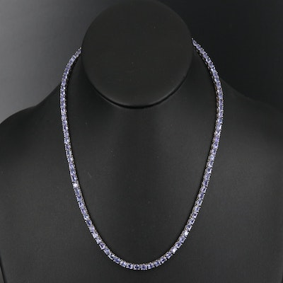 Sterling Tanzanite Riviére Necklace