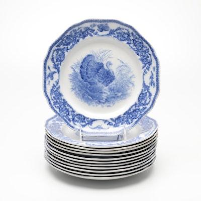 Cauldon English Blue and White Transferware Ceramic Plates, Early 20th Century