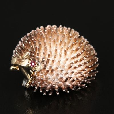 Sterling Ruby Hedgehog Brooch with 14K Accents