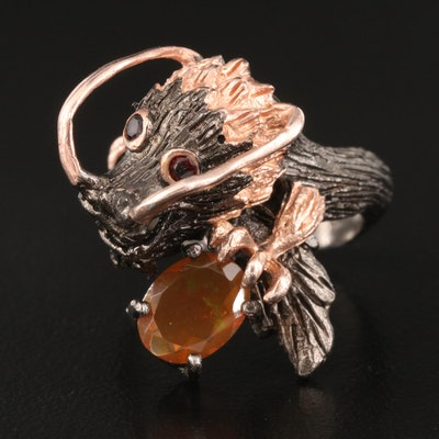 Sterling Dragon Ring with Fire Opal and Garnet