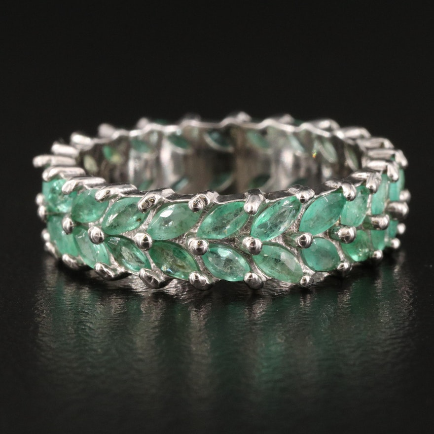 Sterling Emerald Double Row Eternity Band