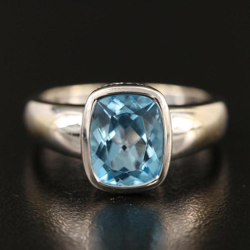 14K Bezel Set Swiss Blue Topaz Ring