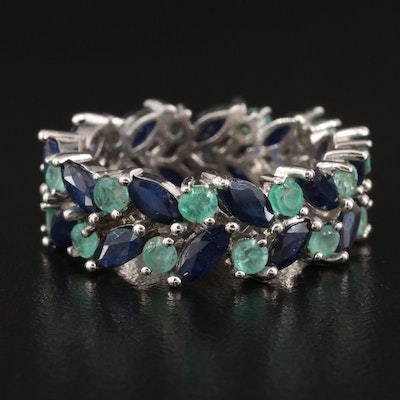 Sterling Sapphire and Emerald Double Row Eternity Band