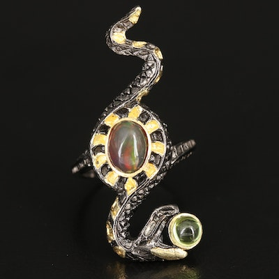 Sterling Snake Ring with Opal and Peridot