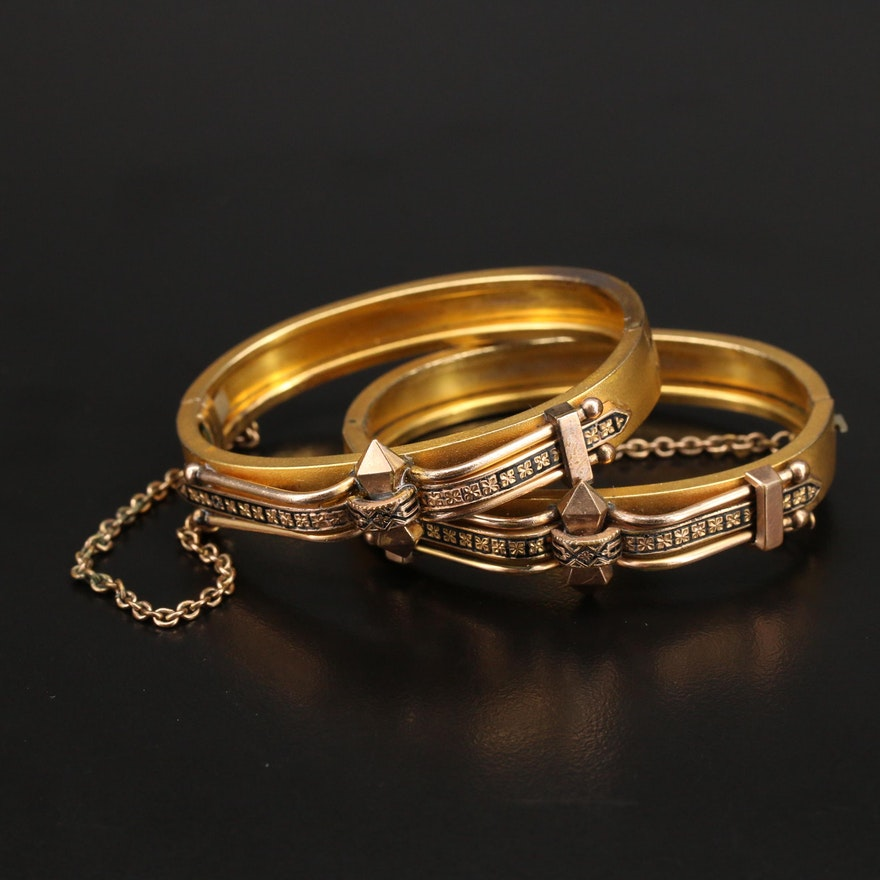 Victorian Enamel Hinged Wedding Bracelets
