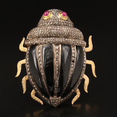 Sterling and 14K Black Onyx, Ruby and Diamond Beetle Brooch