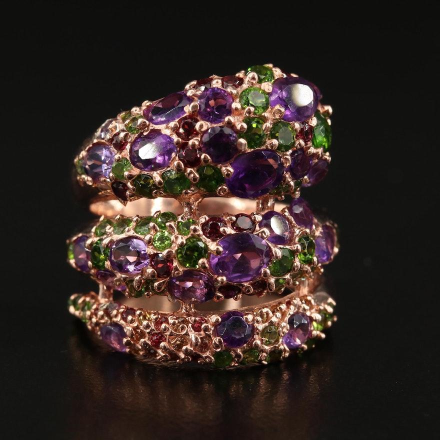 Sterling Amethyst, Garnet and Gemstone Wrapped Ring