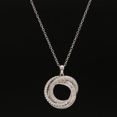 Sterling Diamond Knot Pendant Necklace