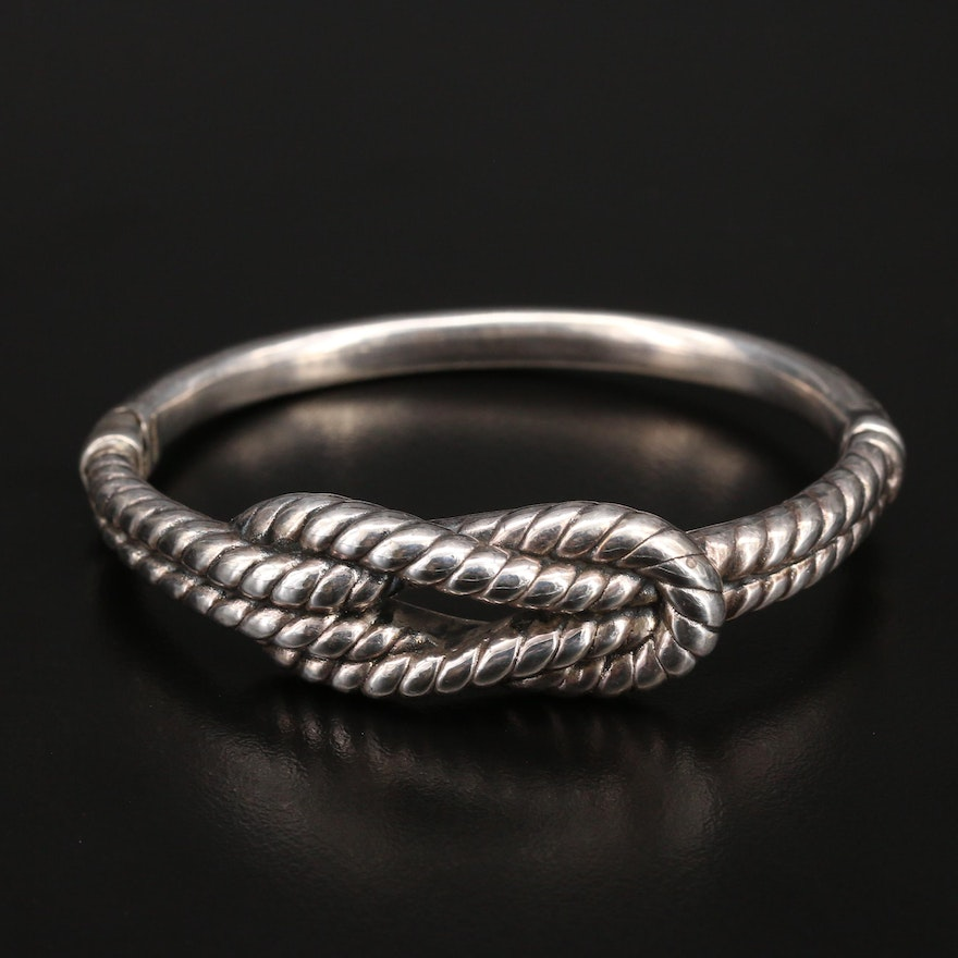 Sterling Braided Rope Knot Hinged Bangle