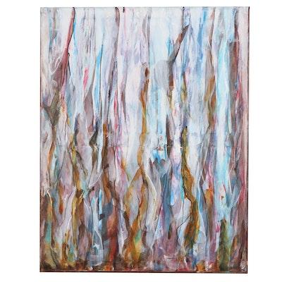 "Sanna Abstract Acrylic Painting ""Sea Foam,"" 2020"