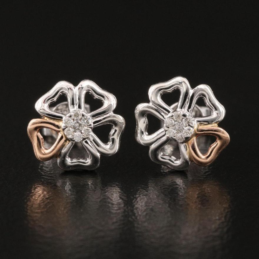 14K Diamond Floral Stud Earrings