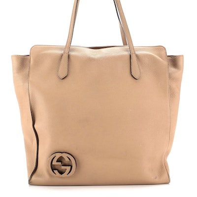 Gucci GG Logo Brown Grained Leather Tote Bag