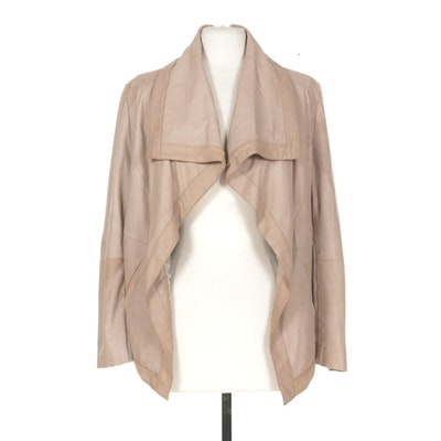 Elie Tahari Suede Open Front Jacket in Light Tan