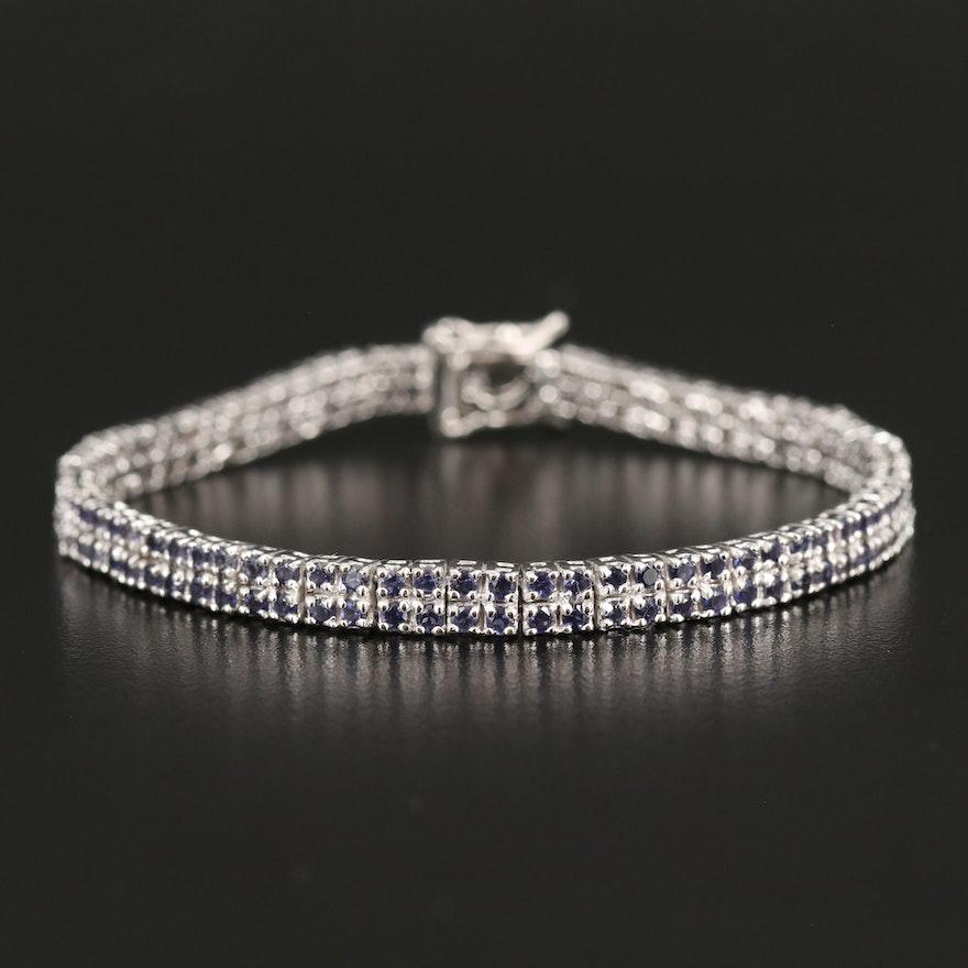 Sterling Iolite Double Row Line Bracelet