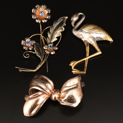 Sterling Bow, Flamingo and Rhinestone Flower Brooches