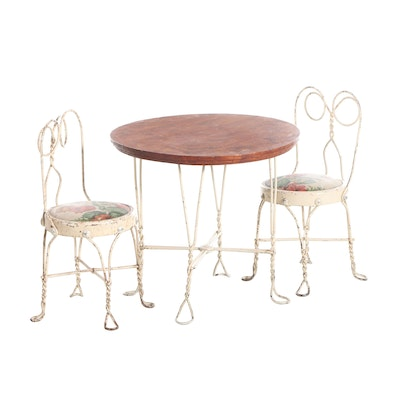 Bistro Style Scrolled Metal and Wood Top Dinette Set, Mid to Late 20th Century