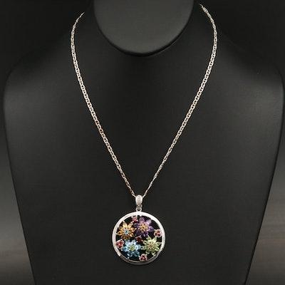 Sterling Topaz,Garnet, Peridot and Gemstone Flower Enhancer Pendant Necklace