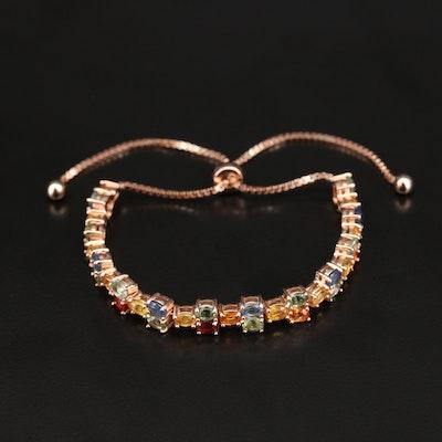 Sterling Rose Gold Sapphire Bolo Bracelet
