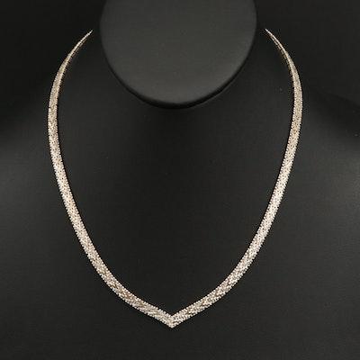 Italian Sterling Silver Riccio Chain Chevron Necklace