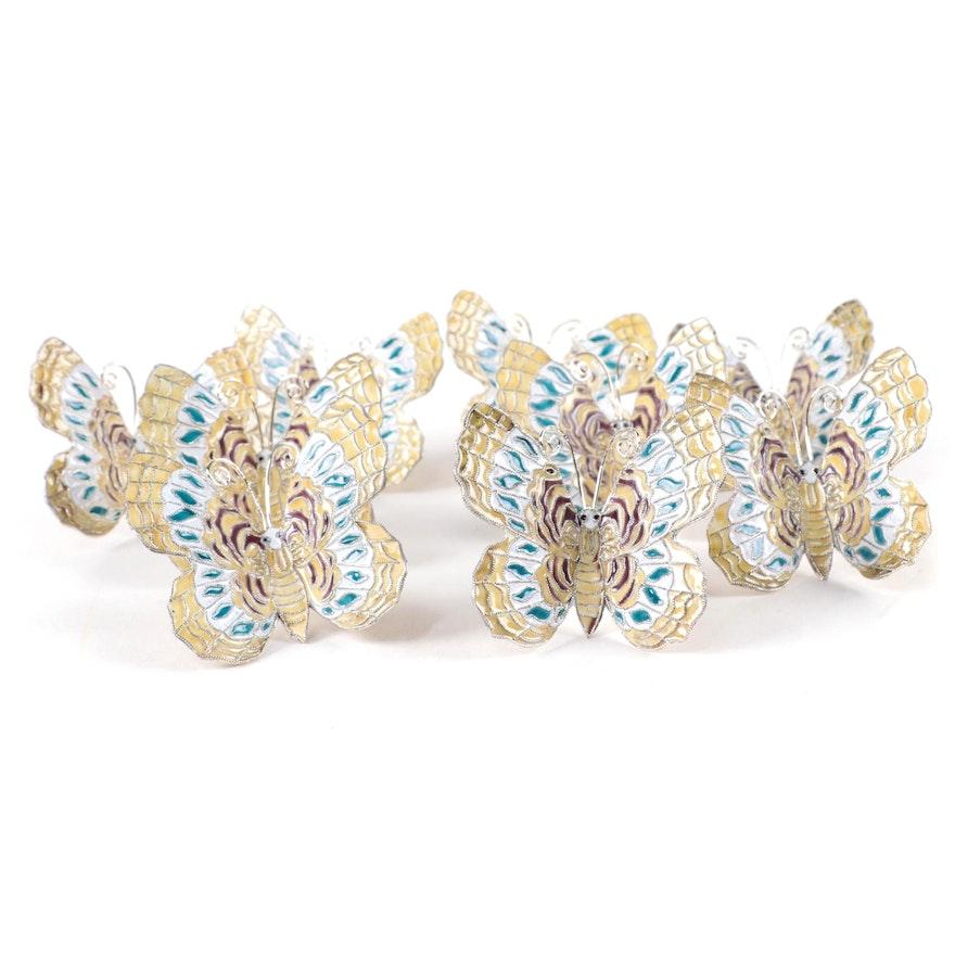 Enameled Metal Butterfly Napkin Rings