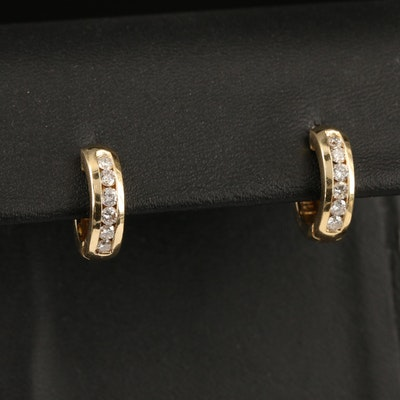 14K Diamond Half Hoop Earrings
