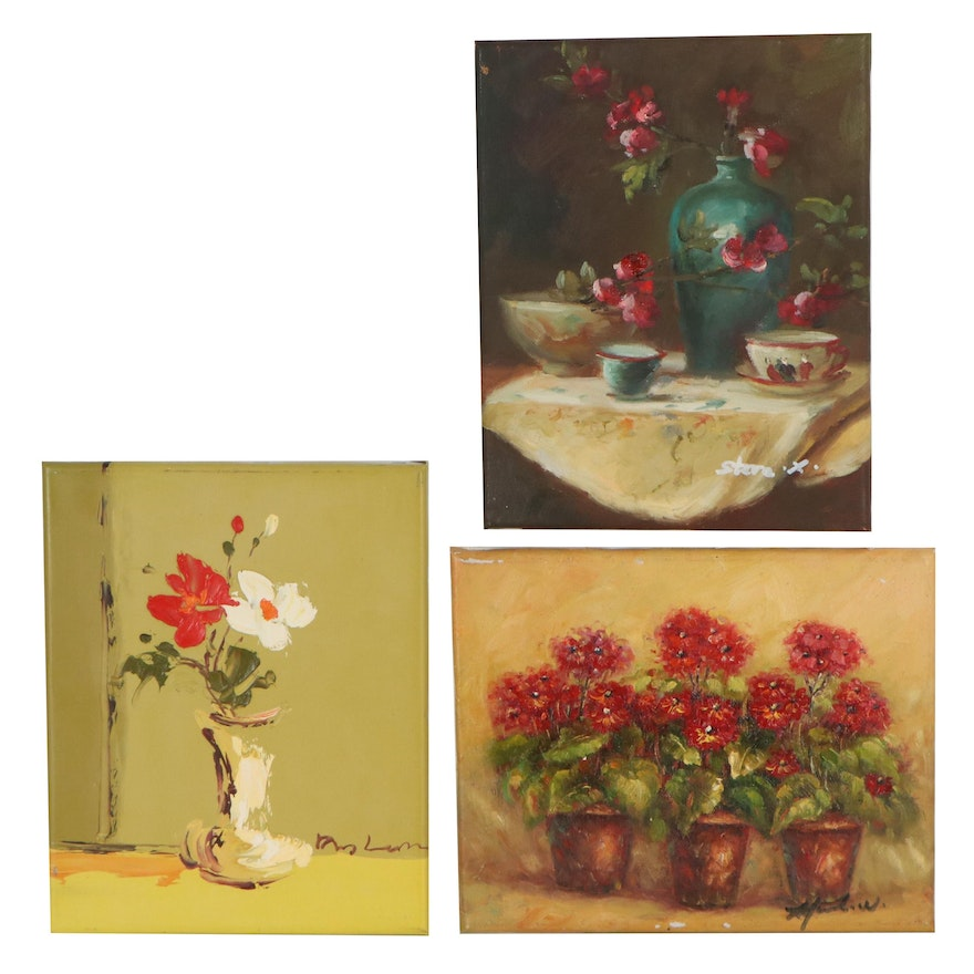 Still Life Oil Paintings of Potted Flowers