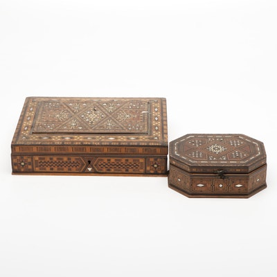 Syrian Wooden Inlaid Bone and Mother-of-Pearl Boxes with Pocket Knives