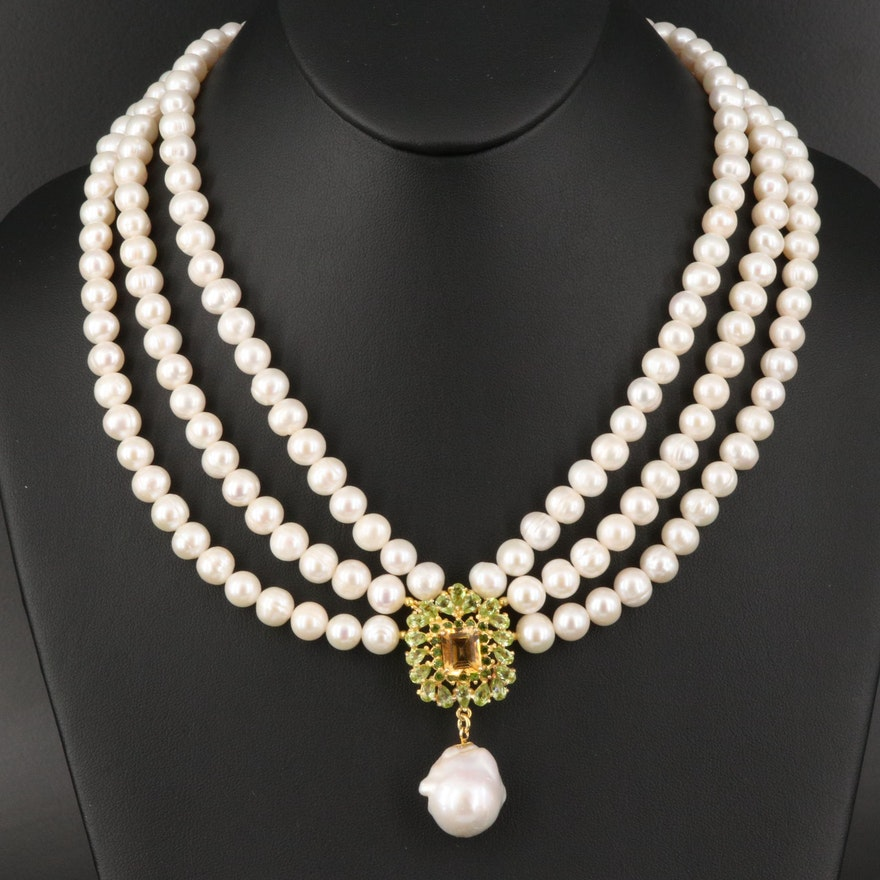 Sterling Multi-Strand Citrine, Peridot and Pearl Necklace