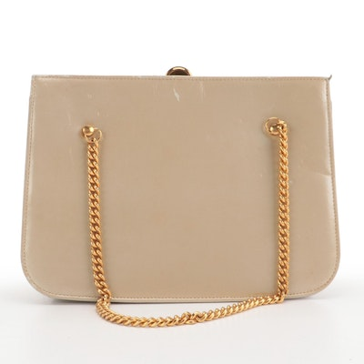 Mr. Jay Chain Handbag in Beige Glazed Leather with Chain Link Strap