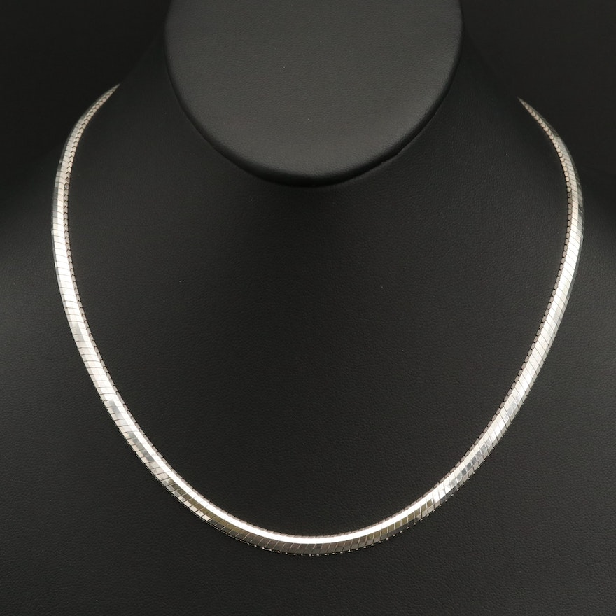 Milor Italian Sterling Silver Omega Chain Necklace
