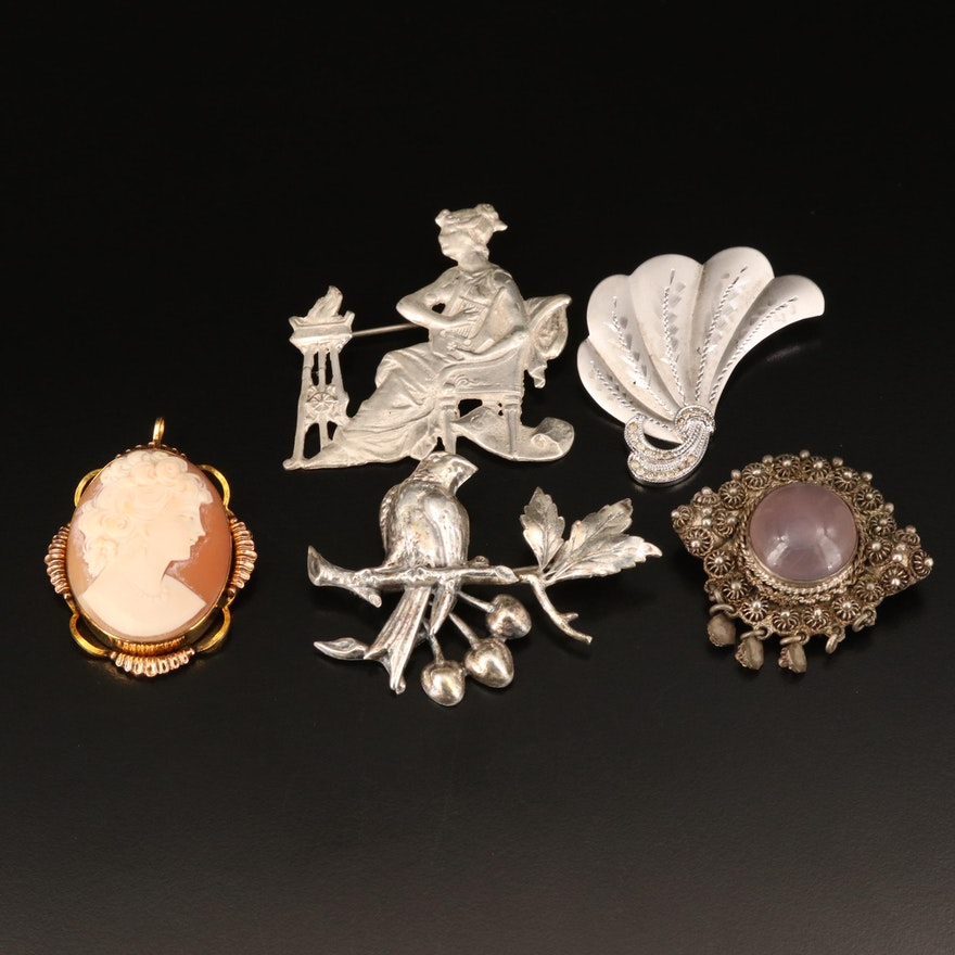 Mixed Metal Brooches Including Shell Cameo and Chalcedony